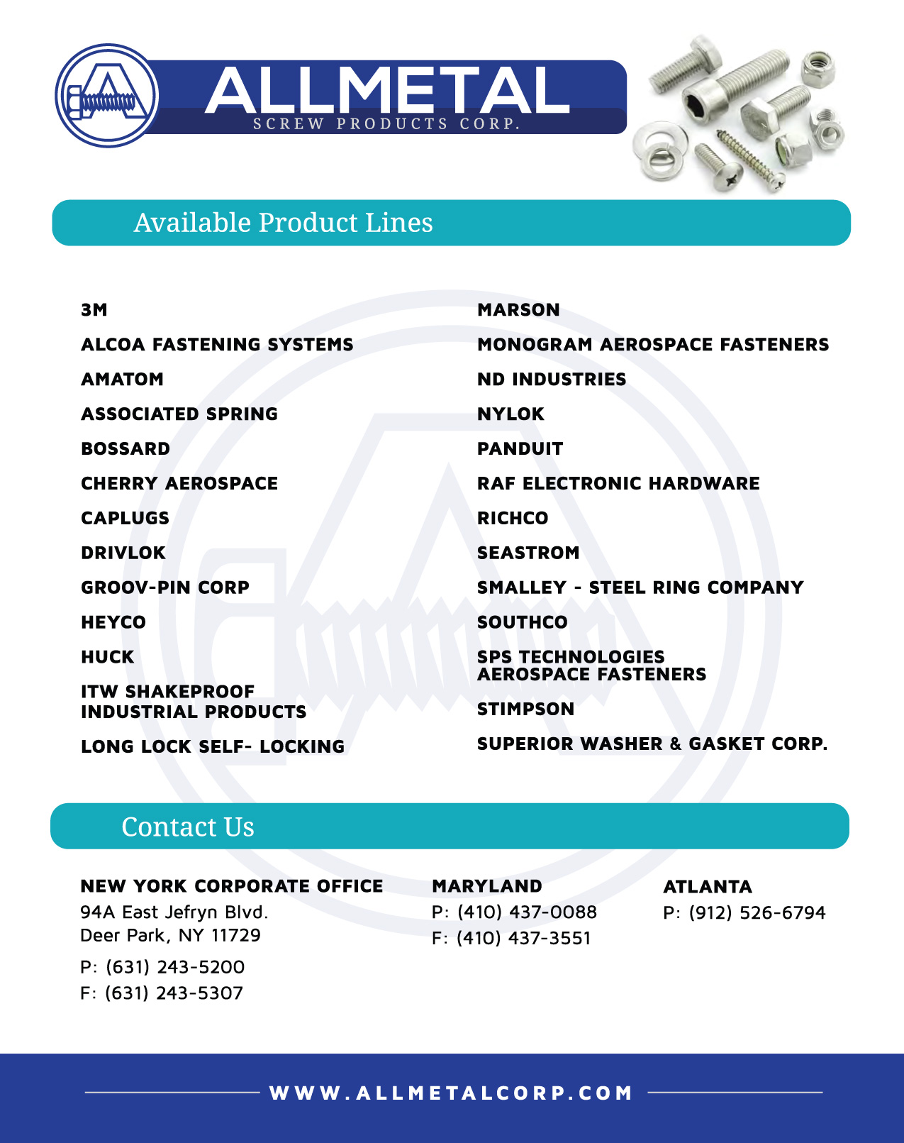 Line Card,ALLMETAL Screw Products, Specialty Fasteners